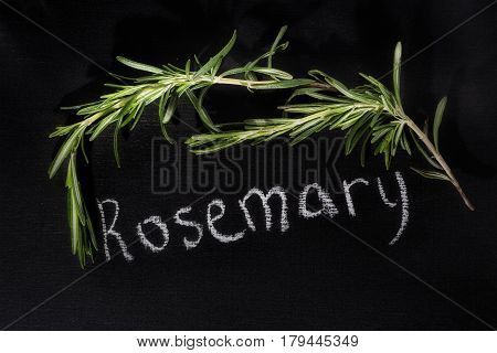Fresh bunch of rosemary on a chalky black board with the name top view with an inscription of chalk