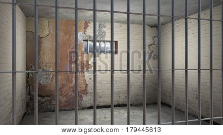 grungy sordid empty prison cell behind bars - 3D rendering