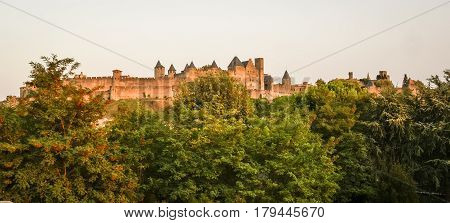 Cityscape with Carcassonne medieval castle, Toulouse, France