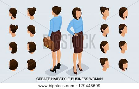 Isometric business woman set 1 3D women's hairstyles to create a stylish business woman fashionable hairstyle rear view isolated on a light background.