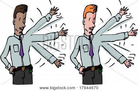 Businessman Waves His Arm