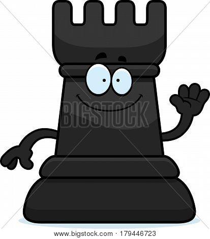 A cartoon illustration of a rook chess piece waving.