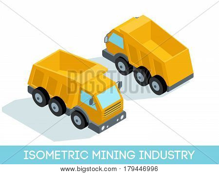 Isometric 3D mining industry icons set 6 image of mining equipment and vehicles isolated on a light background vector illustration.