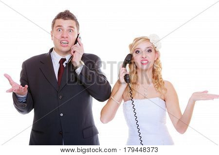 Groom And Bride Calling To Each Other