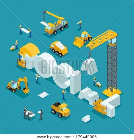 3D isometric Building of business ideas brand society. Working people in the construction work. The development plan of the invention. Building on a dark background.