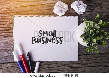 SMALL BUSINESS word with Notepad and green plant on wooden background