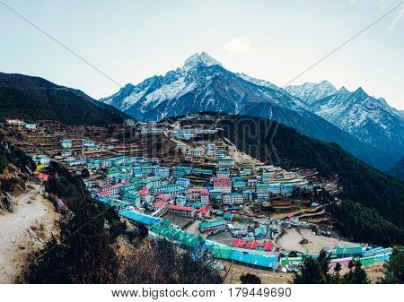 Namche Bazaar and Thamserku mountain in Solukhumbu district, Nepal