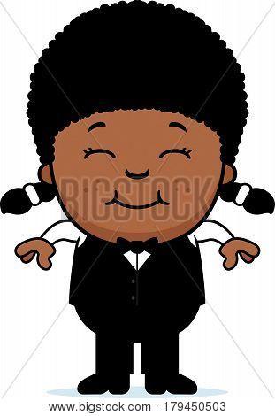 Smiling Cartoon Little Waiter