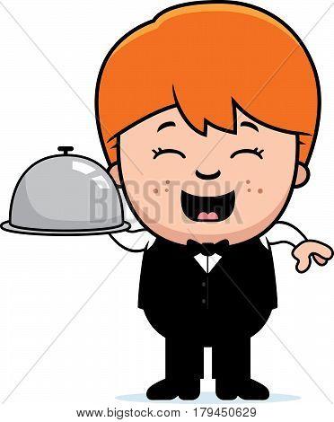 Cartoon Little Waiter Tray