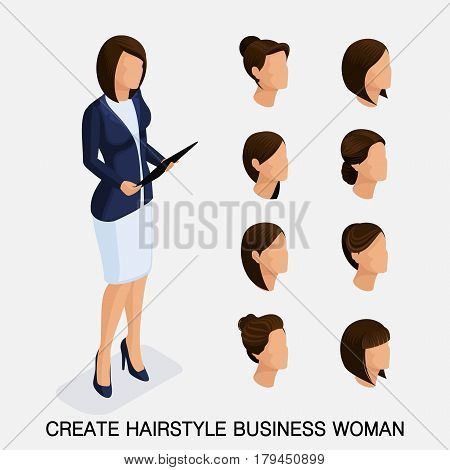 Trendy isometric set 9, women's hairstyles. Young business woman, hairstyle, hair color, isolated. Create an image of the modern business woman. Vector illustration.