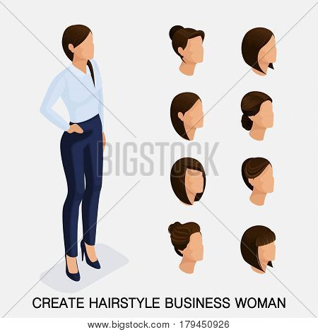 Trendy isometric set 11, women's hairstyles. Young business woman, hairstyle, hair color, isolated. Create an image of the modern business woman. Vector illustration.