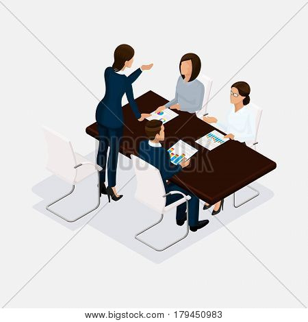 Isometric people, businessmen 3D business woman. Discussion, negotiation concept work, brainstorming. Director scold subordinates.