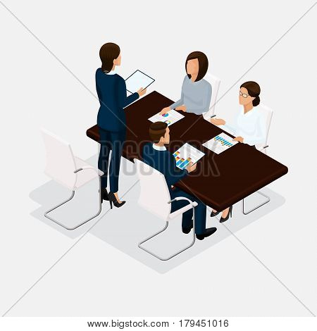 Isometric people, businessmen 3D business woman. Discussion, negotiation concept work, brainstorming. Director negotiating table isolated.