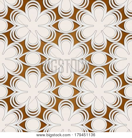 Stylized seamless floral lace embossed pattern in retro style.