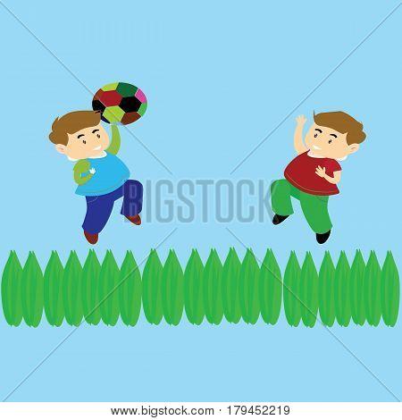 Cute kids playing ball in the yard cartoon vector