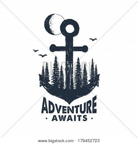 Hand drawn inspirational badge with textured forest on anchor vector illustration and