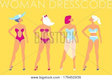 Women in swimsuit of different types on a yellow background.