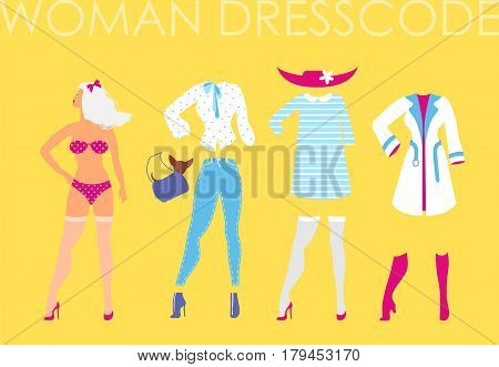 Women dress code romantic style illustration on yellow background. Woman in underwear with set of different clothes blouse, jeans, handbag, doggie in a purse, dress, hat, stockings, raincoat, boots, shoes