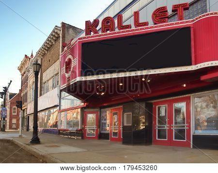 Clayton New York USA. March 29 2017 . The Kallet Theater and Conference Center in downtown Clayton New York on the shores of the Saint Lawrence River
