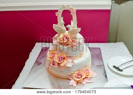 White two-tier wedding cake with roses and two pigeons