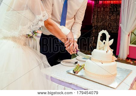 Bride and groom cut white two-tier wedding cake