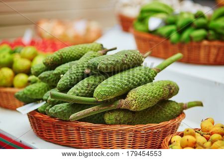 Delicious, Ripe Exotic Fruit Of Monstera Deliciosa On Traditional Farmer Market In Funchal