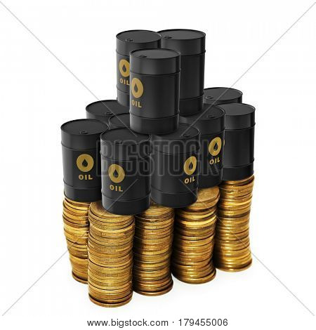 Oil trading concept with money and oil barrels