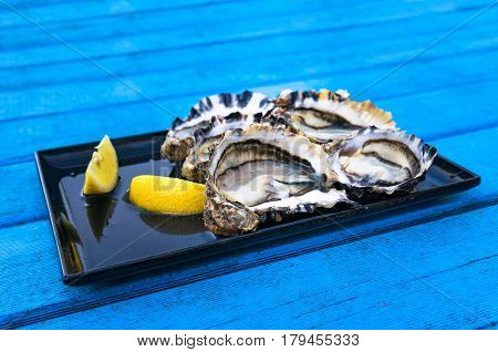 Fresh Raw Oysters With Lemon On Bright Blue Wooden Table