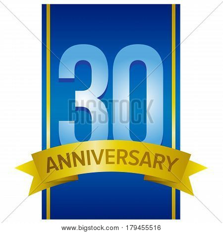 Thirty years anniversary label. Number 30 on blue vertical stripe with yellow tape below. Vector sign on white background.
