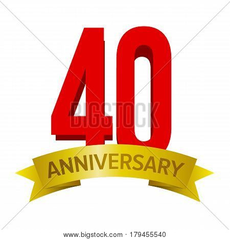 Big red number 40 with gold ribbon and text 'anniversary' below. Vector label on white background. Bright logo for forty ears celebration.