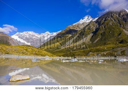 Tasman Glacier Lake With Giant Floating Icebergs, Aoraki Mount Cook National Park New Zealand. Mt Co