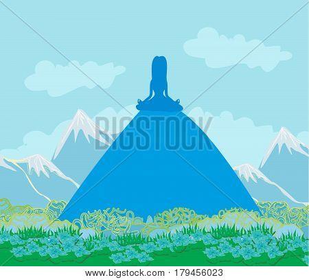 Joga woman silhouette on Mountain landscape , vector illustration