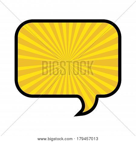 silhouette of rounded rectangle speech in yellow background with sun rays vector illustration
