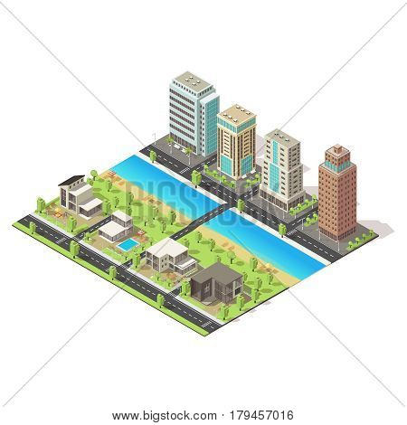Isometric city landscape template with urban and suburban buildings water road bridge green trees vector illustration