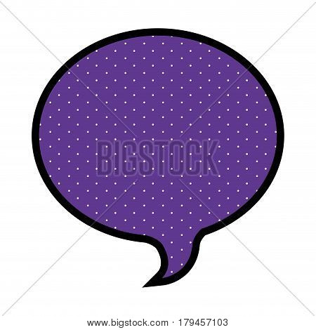 silhouette of oval speech in purple background and dotted vector illustration