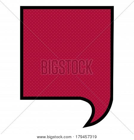 silhouette square speech in scarlet red background and dotted vector illustration