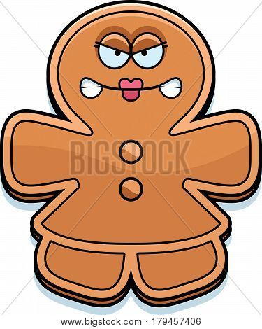 Angry Cartoon Gingerbread Woman
