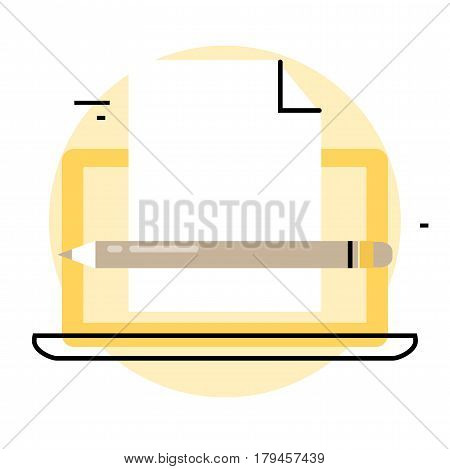 Blogging and creative writing icon. Content management, writing articles, news, internet blogging, consulting, copywriting flat line business vector illustration banner for mobile and web graphics
