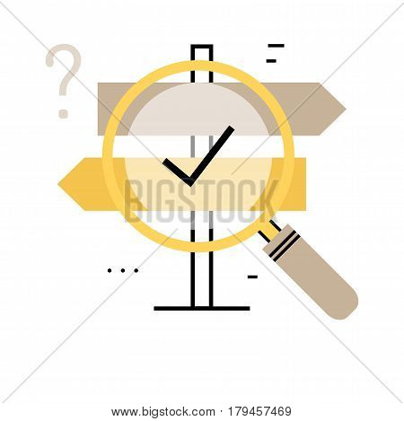Career choices and professional orientation flat line vector illustration design banner. Signpost with magnifier for career opportunities and decision making design for mobile and web graphics