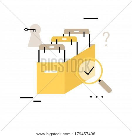 Archive papers drawer flat line business vector illustration design banner. Business files and documents, catalog search, file management design for mobile and web graphics