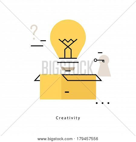 Thinking outside the box flat line business vector illustration design banner. Creative thinking, education, research, creative idea background. Design for mobile and web graphics