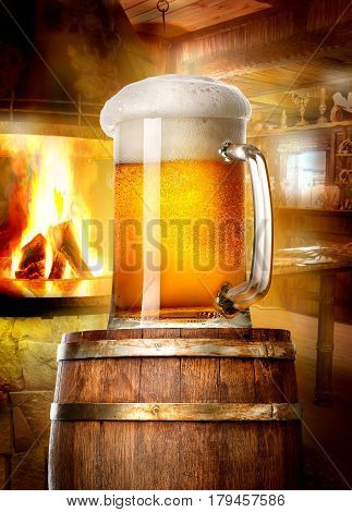 Mug of beer on wooden cask near fireplace in pub