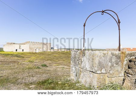 the Cistern and the Castle inside the Medieval wall in Campo Maior city, Portalegre district, Portugal