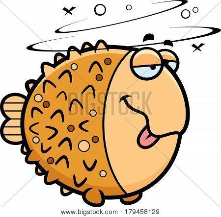 Cartoon Drunk Pufferfish