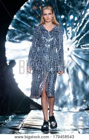 MOSCOW RUSSIA - MARCH 16 2017: Model walk runway for SENSUS COUTURE catwalk at Fall-Winter 2017-2018 at Mercedes-Benz Fashion Week Russia.