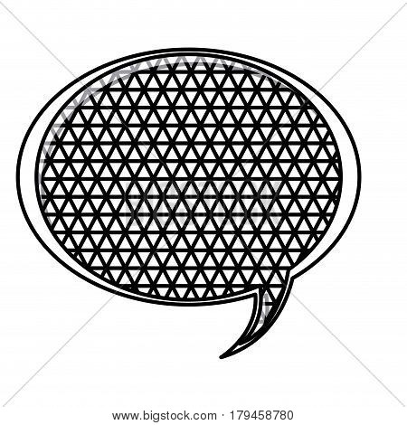 silhouette oval speech with metal grid of background vector illustration
