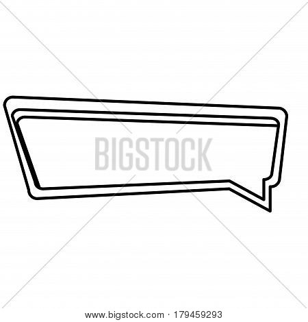 silhouette rectangle speech with double contour vector illustration