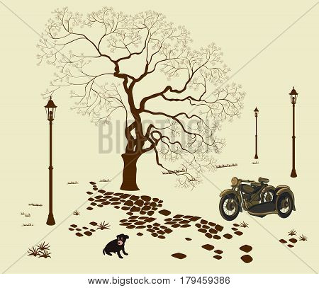 Vector illustration loneliness, dog in the park