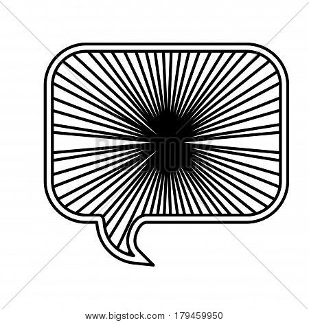 monochrome silhouette with rounded rectangle speech with sun rays vector illustration
