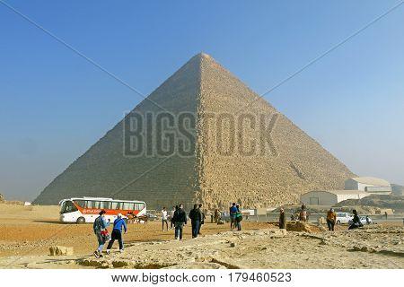 GIZA / EGYPT - JANUARY 22, 2015 - Pyramids of Giza, EGYPT.